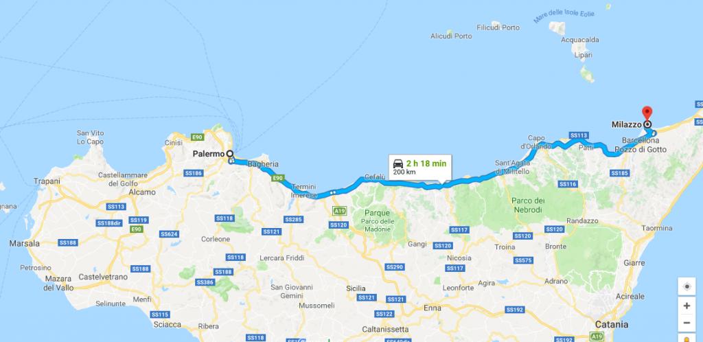 Palermo Milazzo en tren para llegar a Lipari
