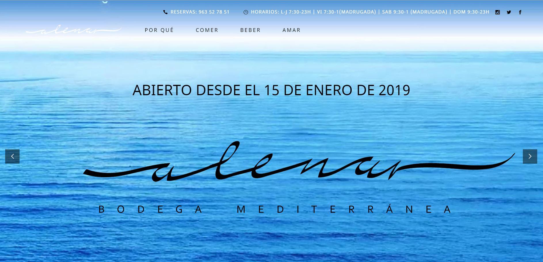 Página web para Restaurantes - Alenar Bodega Mediterránea en el centro de Valencia
