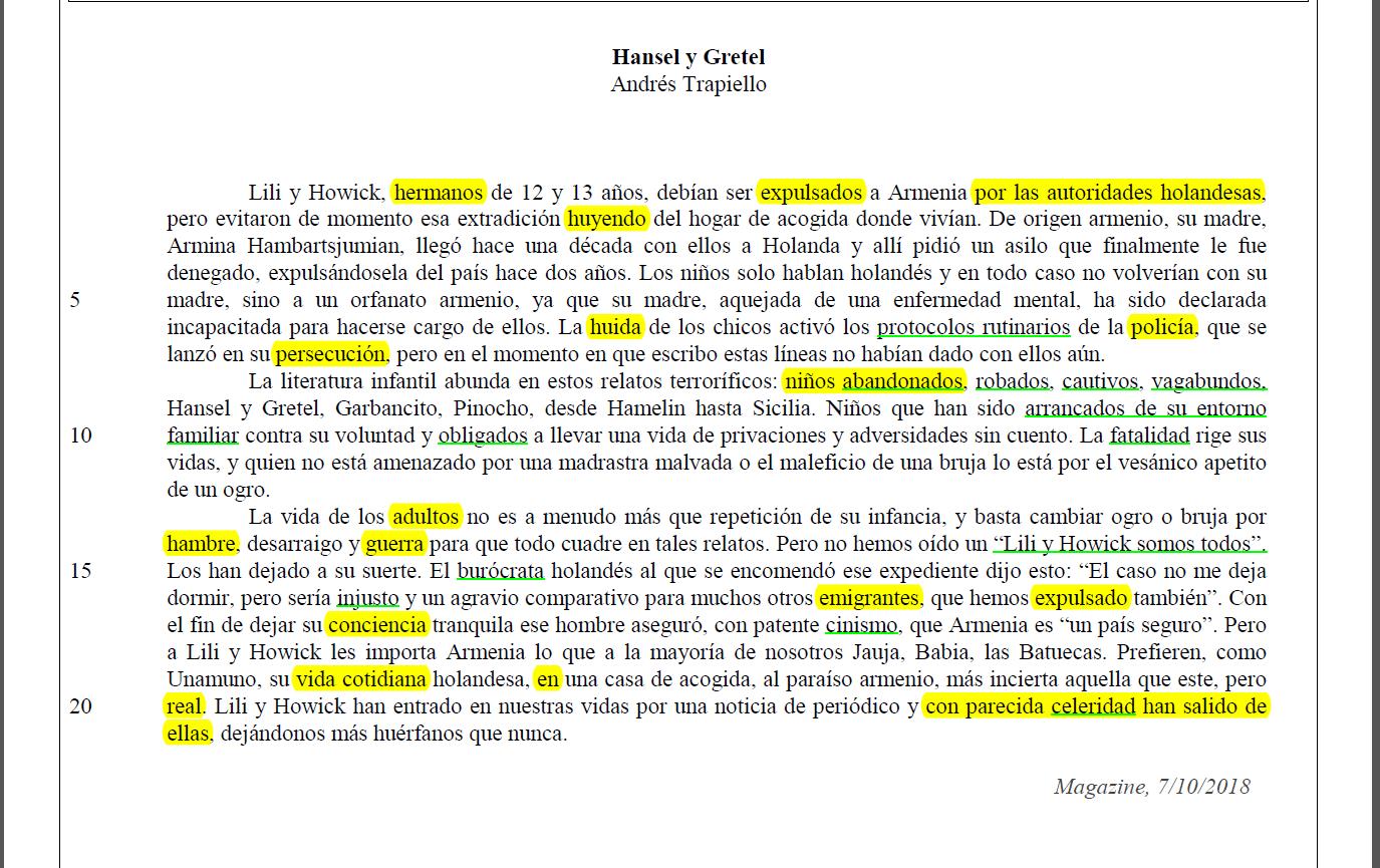 Subrayado y resumen de texto Hansel y Gretel de Andrés Trapiello. PAU 2019