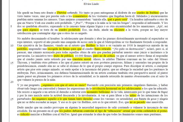 Resumen y Subrayado del texto Lo que la niña enseña de Elvira Lindo